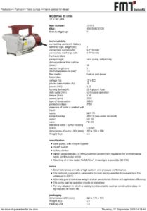 thumbnail of prtable pump kits pump specs
