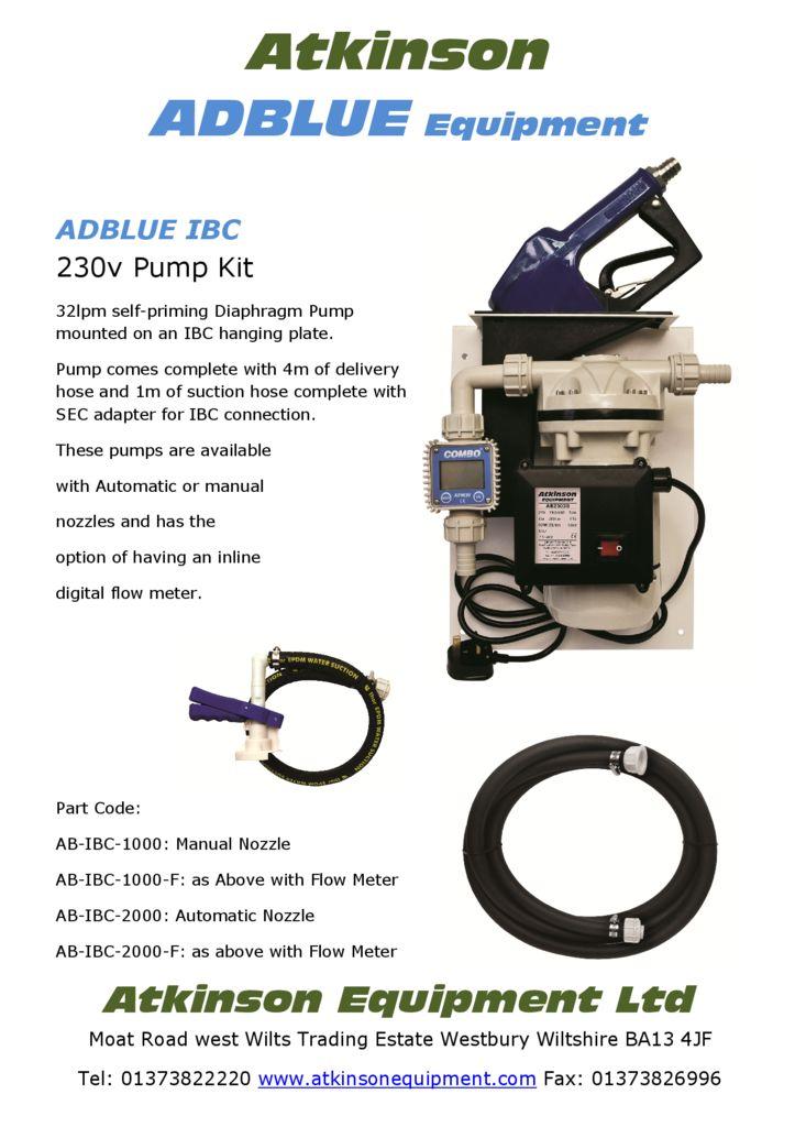 IBC AdBlue Pump Kit - 230v -